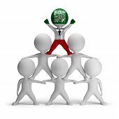 image of human pyramid  - 3d small people standing on each other in the form of a pyramid with the top leader Somaliland - JPG