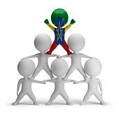 picture of human pyramid  - 3d small people standing on each other in the form of a pyramid with the top leader Ethiopia - JPG