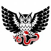 stock photo of eagles  - Tattoo of black eagle owl and red serpent - JPG