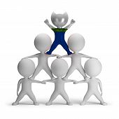 image of human pyramid  - 3d small people standing on each other in the form of a pyramid with the top leader Navassa - JPG