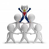 foto of human pyramid  - 3d small people standing on each other in the form of a pyramid with the top leader Saint - JPG