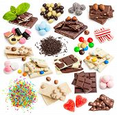 picture of white-milk  - Collage of white and milk chocolate and candies isolated on white background - JPG