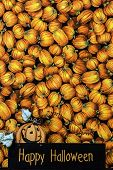 picture of wood craft  - wood craft happy halloween sign in front of vertical black cloth imprinted with orange pumpkins - JPG