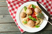 pic of meatball  - Pasta with meatballs on plate - JPG