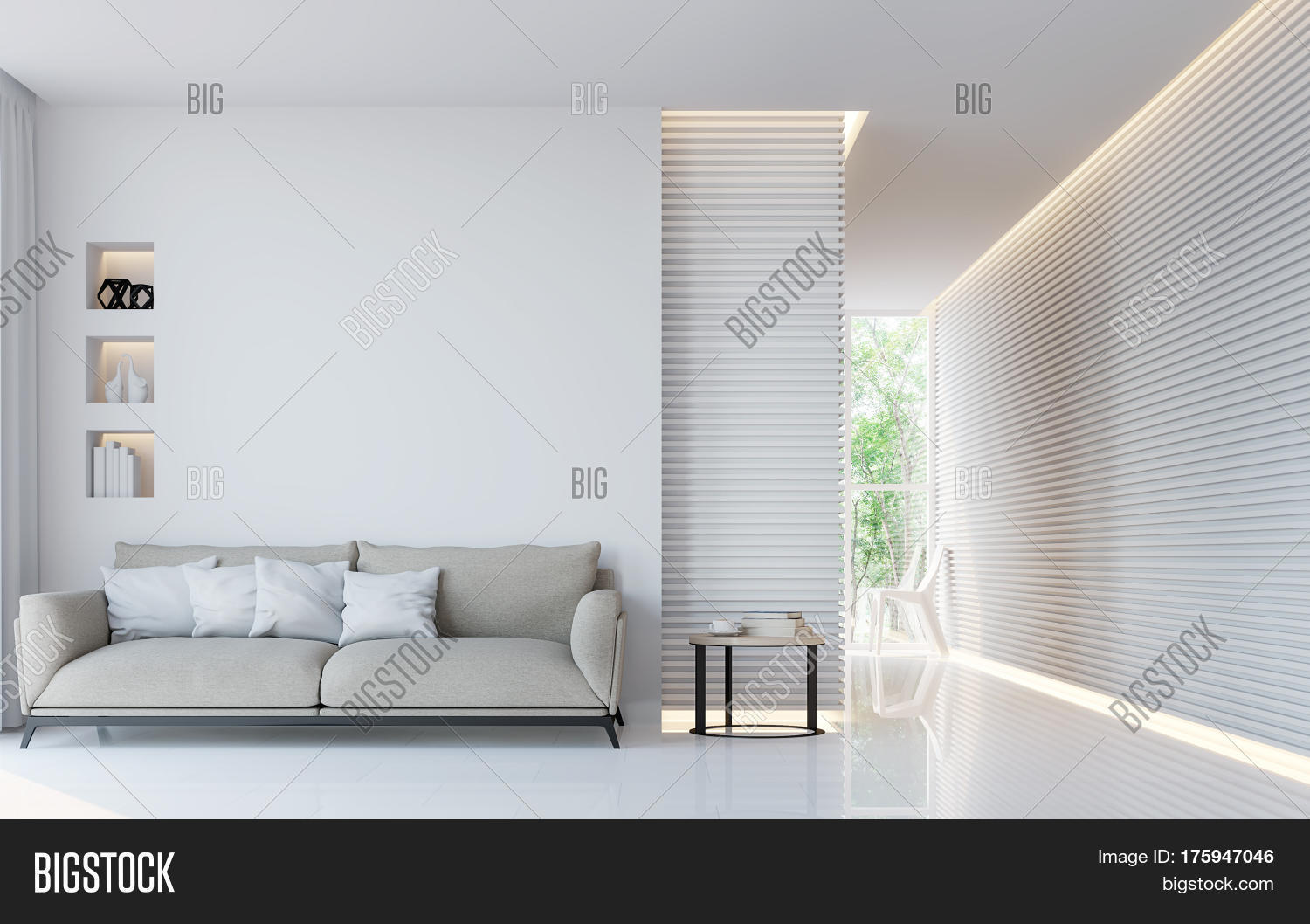 Modern white living room interior image photo bigstock for What to do with a blank wall