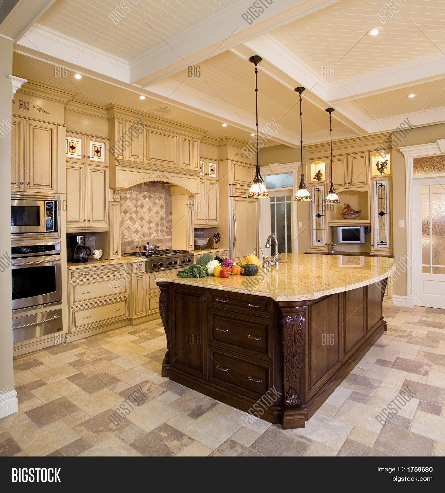 Beige kitchen large island image photo bigstock for Kitchen remodel with large island