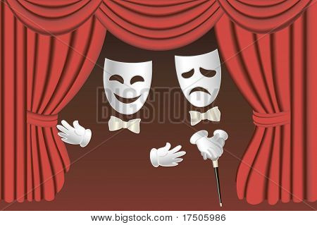 Theatre Masks And Curtains