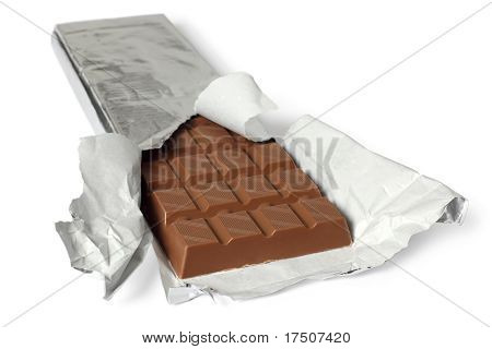 Chocolate Bar With Torn Wrapper