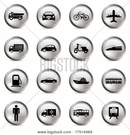 Transportation silver icons set