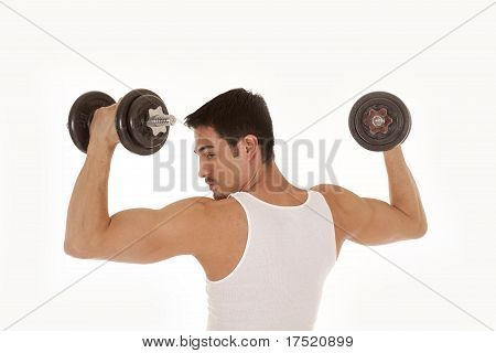 Man From Back Lifting Weights Looking Shoulder