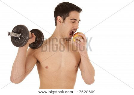 Man With Weight Eating Apple