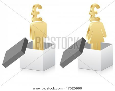 man and woman with lira inside of box
