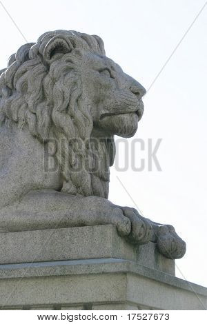 A statue of a lion at stortinget, Oslo Norway parliment building