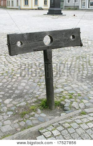 A set of stocks in the old town of Fredriktad