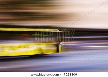Speed abstract of a bus on the streets of Oslo.