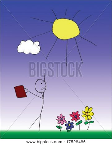 A child like sketch portraying a stick business man on a  warm summer day, and freedom