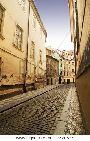 A quaint tiny alley (Seminarska) in Prague, Czech Republic