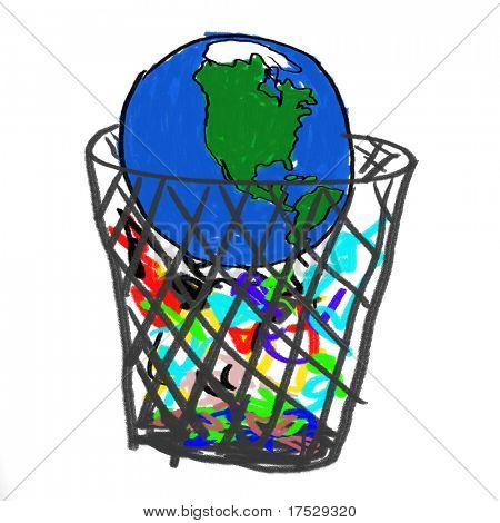 A childlike drawing of the earth in the garbage