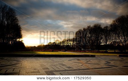 Vigeland park in Oslo Norway during sunset
