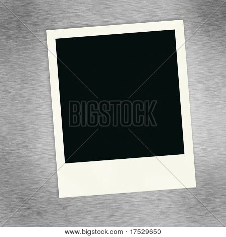 A single blank image on a brush alluminum background.