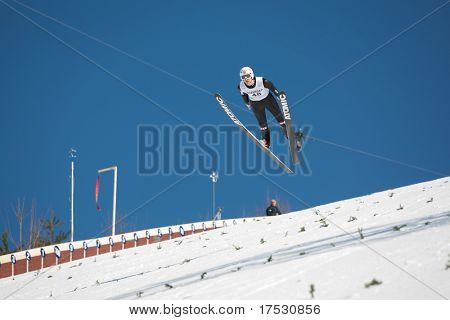VIKERSUND, NORWAY - MARCH 15: Daiki Ito of Japan competes in the FIS World Cup Ski Jumping Competition on March 15, 2009 in Norway.