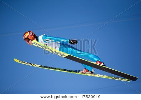 VIKERSUND, NORWAY - MARCH 15: Kalle Keituri of Finland competes in the FIS World Cup Ski Jumping Competition on March 15, 2009 in Norway.
