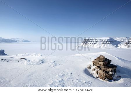 A wilderness landscape from the island of Spitsbergen, Svalbard, Norway