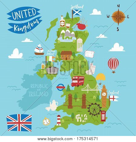 poster of United kingdom great britain map travel city tourism transportation on blue ocean europe cartography and national landmark england famous flag vector illustration. Traditional geography symbols.