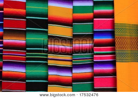 Mexican serape fabric colorful pattern texture background