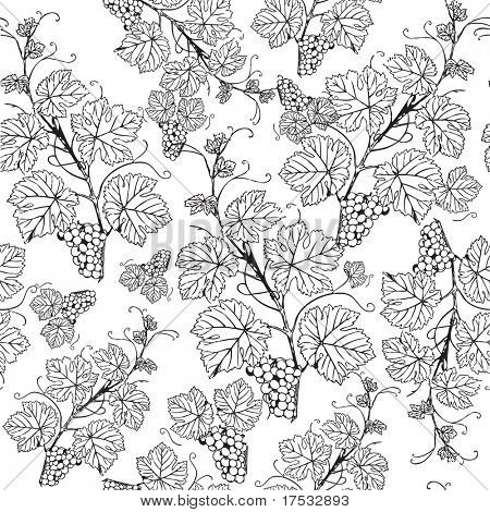 Vintage seamless pattern with grape branch