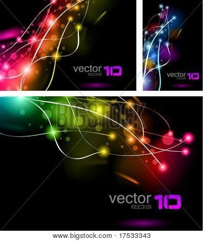 Abstract Rainbow Lights Business Cards Set