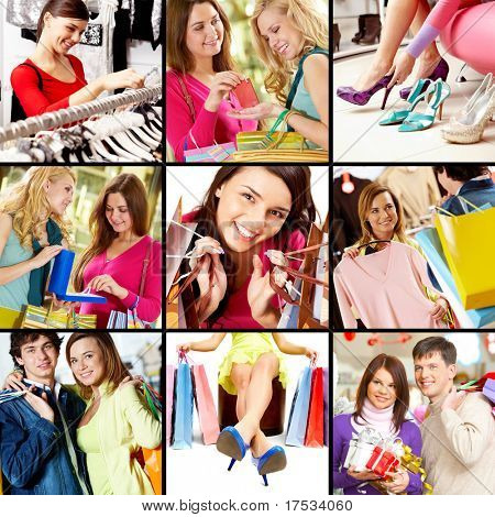 Collage of images with young people shopping