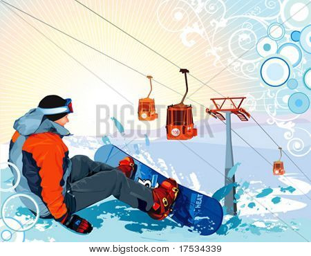 A vector Illustration snowboarder sitting on snow grief