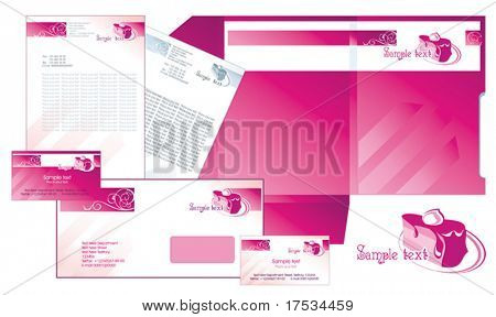 Office elements and accesories for menu restaurant. Vector business set of secretarial things and supplies. Workplace with paper and folder. Collection _8