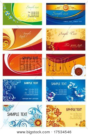 Collection of horizontal Business Cards Design. Set of corporate templates on the colorful abstract backgrounds with firm bright styles. Graphic illustrations collection 2.