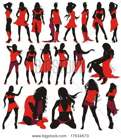 Sexy girls group elegance silhouettes, set of fashion Women Collection - 19 figures.
