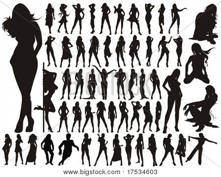 Big Collection - sexy Women / Girl vector silhouettes. 57 Long Legs young Girls.