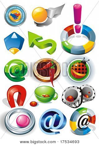 Set of vector 2D and 3D shiny, brilliant glossy Colorful Design elements. Collection_4