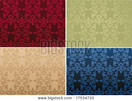 Set elegance and universal Antique ottoman backgrounds, vector decor illustration texture. 4 versions of colors Retro Seamless Damask patterns.