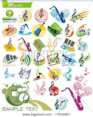 Collection9 Exclusive Series Of Musical Instruments Vector Icons
