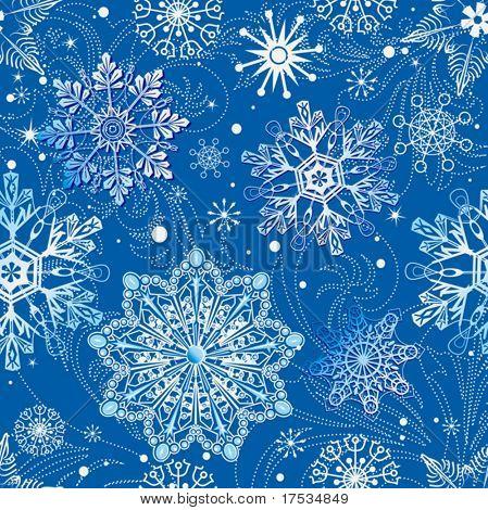 Blue christmas inconsútil del patrón con copos de nieve sobre fondo azul. Ilustración de vector (puede ser repe