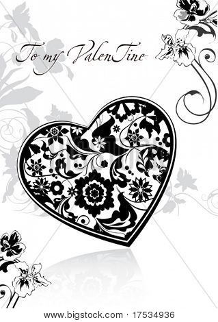 Black and White floral congratulation postcard with Vector ornate heart. A beautiful frame background with Place for your text. Decorative Illustration for design of packing - Saint Valentine's Day.