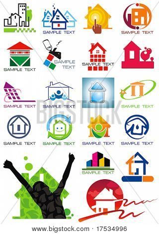House vector Icons for Web. Construction or Real Estate concept. Abstract color element set of corporate templates. Just place your own name. Collection 23.