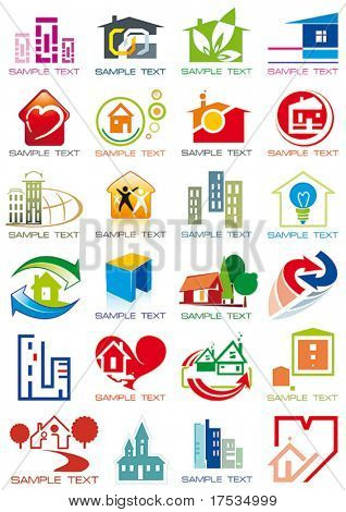 House vector Icons for Web. Construction or Real Estate concept. Abstract color element set of corporate templates. Just place your own name. Collection 24.