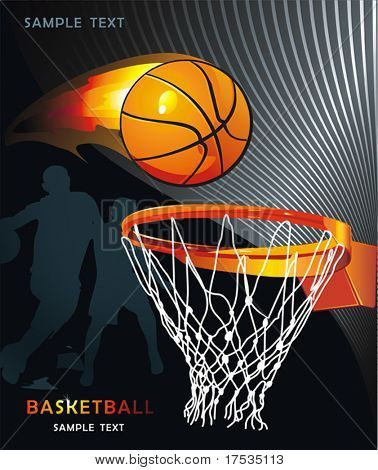 Basketball Advertising poster. Abstract sport background. Vector illustration with Flaming ball for design.