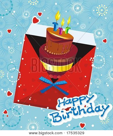 Happy Greeting Card with birthday cake on abstract background. Illustration decorative style.