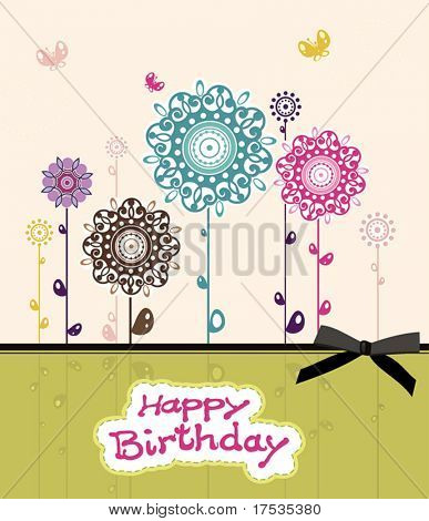 Beautiful blossom greeting birthday card, vector illustration