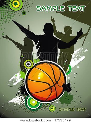Basketball ball with Team silhouettes of sport fans. Vector background with space for text.