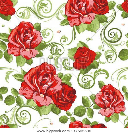 Seamless wallpaper pattern with of collection red roses isolated on white design background, vector illustration