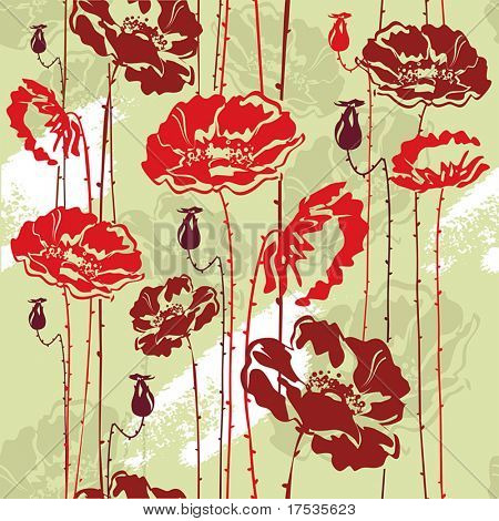 Abstract Elegance seamless floral pattern. Beautiful flowers vector illustration texture with poppy.